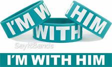 I'M With Him Wristband One Inch Bracelet Girls Wear These With Your Boyfriend