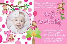Personalised Cheeky Monkey Birthday Invitations Kids Party 1st 2nd Girls invites