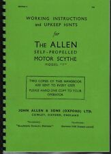 "Allen ""Model T"" Motor Scythe Working Instruction Book"