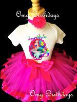 Ariel Little Mermaid Hot Pink Girl 3rd Third Birthday Tutu Outfit Set Shirt