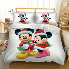 3D Christmas Mickey Mouse Minnie Bedding Set Duvet Cover Pillow Case Quilt Cover