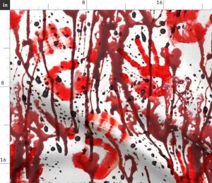 Red Paint Palm Halloween Scary Blood Monochrome Spoonflower Fabric by the Yard