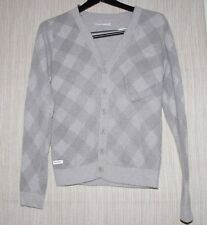 AEMKEI PEASEMASTER GRAY LAMDSWOOL ANGORA BUTTON CARDIGAN WOMEN SWEATER SIZE:S
