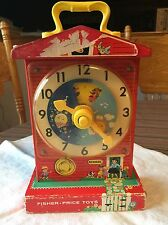 Antique Vintage FISHER PRICE MUSICAL TEACHING CLOCK WOOD TOY MUSIC BOX SCHOOL