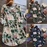Women Retro Floral Printing Mini Dress Summer Party Long Shirt Dress Plus Size