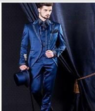 Custom Made Blue Mens Slim Fit Wedding Suits Embroidery Groom Tuxedo Formal Suit