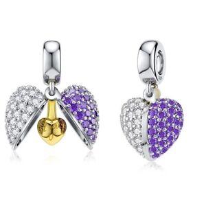 Charm Anhänger Herz Herzen Schatulle Liebe Symbol Perle 925 Silber für Pandora