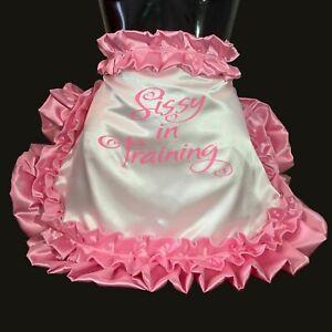 High Shine Silky Soft Luxury DOUBLE Satin ~ Sissy Training Maid Apron/Pinny.