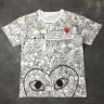 NEW Unisex COMME DES GARCONS PLAY CDG Graffiti Half Heart Embroidered T-SHIRT