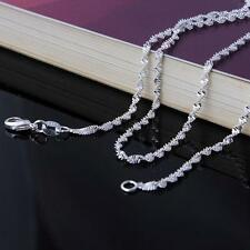 925 Sterling Silver Plated  STAMPED Twist Link Wave Style Chain Only $12 Each
