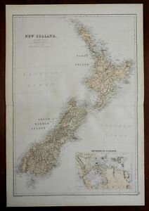 New Zealand North & South Island Wellington Auckland Peninsula 1870 Blackie map