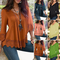 Womens V neck Casual Long Sleeve Lace Shirts Loose Blouses T Shirt Top Plus Size