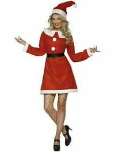 Santa Fleece Christmas Costume Adult Fancy Dress - UK (S) 8/10 - New