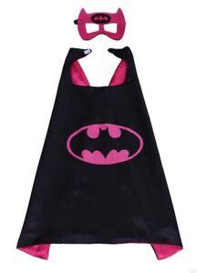 BATGIRL Cape & Mask Set, Black & Pink Girls Party Super Hero Fancy Dress