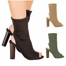 Ladies Womens Peep Toe Knitted Ankle Stretch Block Heel Boots Peep Toe Celeb