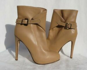 CHARLES DAVID Italy Beige Leather Stiletto Platform Booties Ankle Boots US 8.5