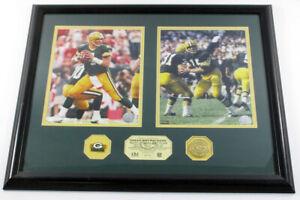 Brett Favre Bart Starr Framed Display 2 Photos Pin Coin Highland Mint DF026052