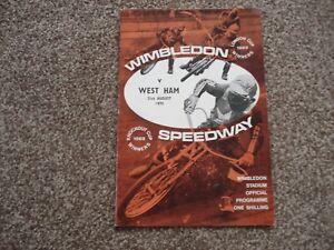 * WIMBLEDON v WEST HAM 31/8/70 speedway programme