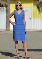 Pomodoro @ Kaleidoscope Size 16 Ocean Blue Schiffley Stripe Dress
