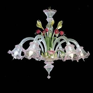 Chandelier Of Murano And Wrought Iron Classic 6 Lights Coll. Bga 673