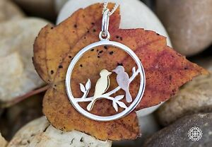 Two Tone Love Birds Pendant Necklace 925 Sterling Silver Rose Gold Plated