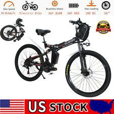 26'' Red 21 Speed Electric Bike City Mountain Bicycles Folding E-bike 350W 36V
