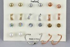 12 pair earrings gold silver copper hoops ball crystal bead stud post set pack