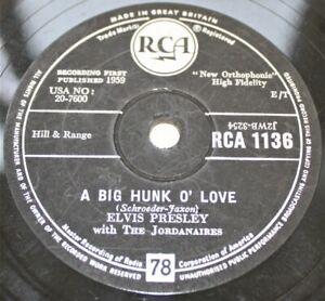 "ELVIS PRESLEY 'A Big Hunk O' Love' 1959 10"" 78rpm Single on RCA Records – H31"