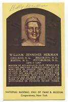 Billy Herman Signed Gold HOF Plaque Baseball Hall of Fame Autographed Postcard