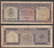Libya 1/2 Pound 1963 (VG) Condition Banknote P-29
