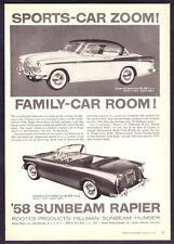 "1958 Sunbeam Coupe de Sport & Rapier Convertible photo ""Room & Zoom"" print ad"