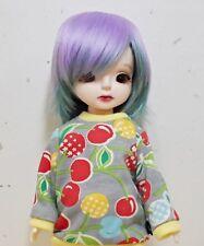 """6-7"""" 1/6 BJD Yosd hair Wig purple & blue-green"""