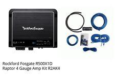 Rockford Fosgate R500X1D 500 Watt Mono D Power Car Audio Amplifier 4GA Amp Kit