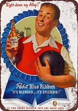 """1947 Pabst Beer and Bowling Rustic Retro Metal Sign 8"""" x 12"""""""