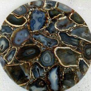 "18"" Agate corner Table Top Pietradura Handmade Art Work home room decor"