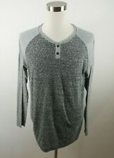 Hurley Mens Polyester Blend Premium Fit LS Heather Gray Henley T Shirt Large
