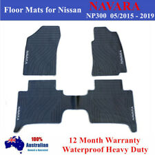Heavy Duty Rubber Floor Mats for Nissan NAVARA NP300 05/2015 - 2019 Grey Black