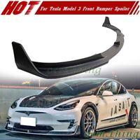 17-21 Fit FOR Tesla Model 3 Sedan Front Bumper Lip Spoiler V Style Unpainted