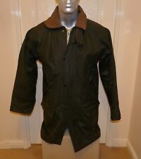 "HEAVY AUTHENTIC WHATBARON OLIVE WAX JACKET, Size SMALL, 40"" CHEST, UNISEX (no9)"