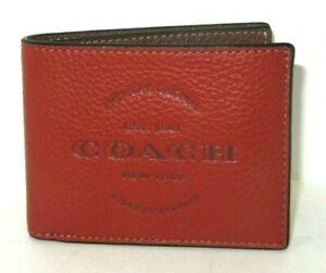 Coach C5604 Men's Slim Billfold Wallet Terracotta Saddle Pebbled Leather NWT$150