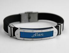 ALAN - Mens Silicone & Blue Name Plate Engraved Bracelet - Gifts For Him