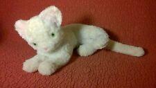 """Vintage 11"""" + tail white plush LAYING CAT stuffed animal toy"""
