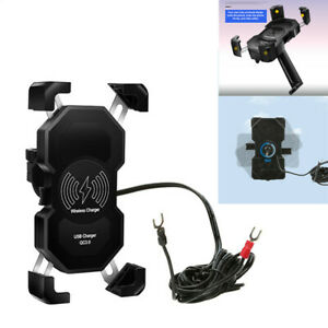 Motorcycle ATV Cell Phone GPS Rearview Mirror Mount Holder 15W Wireless Charge