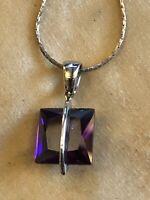 Vintage Silver 925 Purple Crystal Necklace
