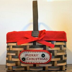 MERRY CHRISTMAS Holiday Gift Wicket Basket Wood Handle Red Felt Lined Cane Strap