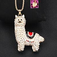Betsey Johnson Enamel Crystal Cute Alpaca Pendant Sweater Chain Necklace