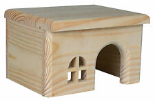 Flat Roof Pine Lodge Wooden House for Hamsters Mice Gerbils & Small Rodents