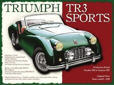 Triumph TR3 Classic British Sports Car Retro Vintage Old Small Metal/Tin Sign