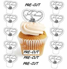 just married wedding X24 edible stand up cup cake toppers wafer paper *pre-cut