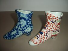 Lot of 2 Vintage Victoria Ware Ironstone Porcelain Boot Figurines